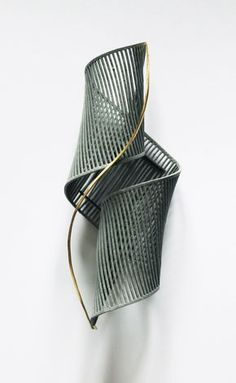 Dominika Kupkova, liqnear brooch (65x145mm), laser cut card, spray paint, oxidised precious white metal, precious yellow metal