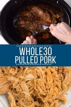 Slow Cooker Pulled Pork This Healthy Crockpot Pulled Pork recipe is a perfect easy, filling weeknight dinner. Made in the slow cooker with only a few ingredients, it's low in fat, packed with protein, and paleo / approved! Pulled Pork Receta, Healthy Pulled Pork, Healthy Pork Recipes, Pulled Pork Recipes, Beef Recipes, Bbq Pork, Paleo Food, Pulled Pork In Oven, Lunches