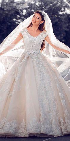 ball gown lace cap sleeves scoop neck princess wedding dresses sameddin
