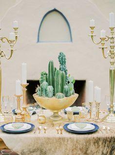 cactus centerpiece - photo by Elyse Hall Photography http://ruffledblog.com/tucson-hacienda-wedding-inspiration