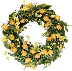 The Wreath Depot Wyndale Tulip Door Wreath 22 Inch, Beautiful White Storage Gift Box. Handcrafted on a natural base with a variety of silk greenery and faux yellow flower blossoms and tulip blooms. Spring Front Door Wreaths, Spring Door, Spring Wreaths, Housewarming Decorations, Housewarming Gifts, Green Funeral, Orange Front Doors, Gift Boxes Online, Living Room Furniture Sale