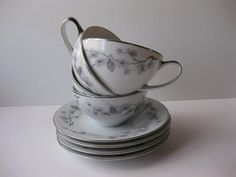 Vintage Meito China Silver Pine Teacups and by thechinagirl