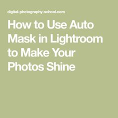How to Use Auto Mask in Lightroom to Make Your Photos Shine