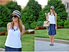 Navy and white has always been my favorite cool theme for summer. Simple classic with a nautical feel it's a simple color combination that will always make you look polished.    I love incorporating items with texture like this eyelet white New York and Company tank for $17 and this sweet straw David and Young hat with a side bow I purchased from Ross dress for less for $8.99!  I love the length and flexibility of this navy Gap skirt and it was a steal at $12.99.