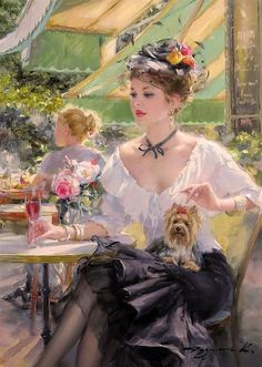 Artwork by Konstantin Razumov, Pleasant thoughts, Made of Oil on canvas Romantic Paintings, Classic Paintings, Beautiful Paintings, Victorian Paintings, Victorian Art, Illustration Art, Illustrations, Classical Art, Renaissance Art