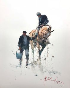 Watercolor Horse, Watercolor Artists, Watercolor Techniques, Watercolor Paintings, Watercolor Animals, Hippo Drawing, Joseph Zbukvic, Photoshop Rendering, Horse Art