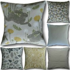 Cushion Covers made with Clarke & Clarke New Land Sea Yellow Green Grey Pillows Green Cushions, Grey Pillows, Velvet Cushions, Cushion Covers Uk, Cottage Crafts, Craft Business, Crushed Velvet, Traditional House, Country Living