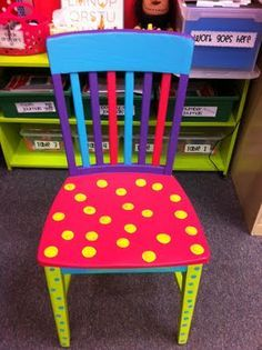 "Love this chair for the classroom! It would be great for ""author's chair"" or any activity where one student is sharing a project, report, show and tell. It could also be used for your ""special student of the week!"""