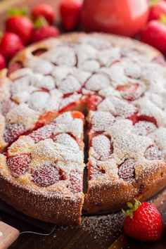 Easy Strawberry Cake recipe loaded with strawberries. So soft, lightly sweet, moist and bursting with strawberry flavor. Must-try easy strawberry syrup! Strawberry Cake Recipes, Strawberry Sauce, Fresh Strawberry Cake, Strawberry Kitchen, Food Cakes, Cupcake Cakes, Cupcakes, Just Desserts, Delicious Desserts