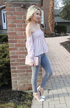 blush pink off the shoulder top and clutch