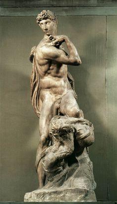 МИКЕЛАНДЖЕЛО. Скульптуры от 1502 Победа. 1532-34 Мрамор. Палаццо Веккьо, Флоренция