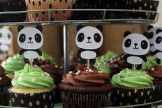 Panda Cupcake Toppers Set of 12 Black and White Panda
