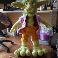I was asked to make a teddy for a friend who is obsessed with Goblins and I couldn't find any patterns that would suit my friend's character, so I decided to make one myself. This guy is my own design and I've used knowledge gained from making other patterns in the past.