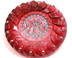 Vintage Czech glass button, $6.25
