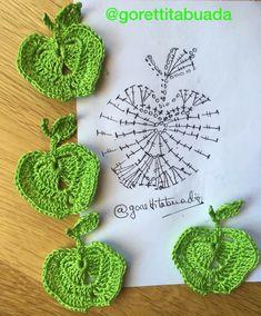 Crochet Letters Pattern, Crochet Edging Patterns, Crochet Motif, Diy Crochet, Crochet Designs, Crochet Stitches, Crochet Hats, Crochet Apple, Crochet Fruit