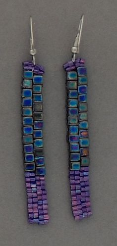 Enchanting beaded earrings I call DANGLING RADIANCE - (long and thin) ear wires, Peyote stitch, 4x4 glass beads, Glass Deilca beads
