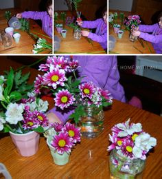 Flower arranging (for Tinkerlab's creative challenge: flowers)