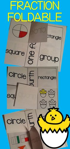 Do you teach fractions in the spring? This is a MUST HAVE!! This foldable helps your students work with one fourth, two fourths, three fourths, one half, one third, two thirds, Your students will color circles, squares, rectangles, and a group picture of chicks hatching in order to show the above fractions. $
