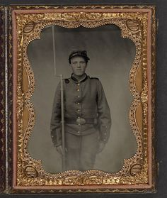 [Unidentified young soldier in Union uniform with bayoneted musket] (LOC) by The Library of Congress, via Flickr