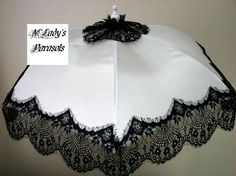 VICTORIAN  PARASOL in White Satin Accented with Elegant Wide Black Eyelash Lace