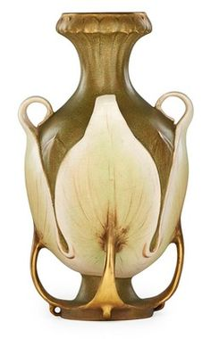 Teplitz Porcelain; Amphora, Reissner, Stellmacher & Kessel, Vase, Handles, Leaves, 10 inch.