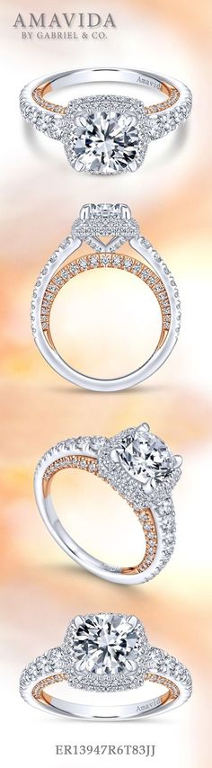 Gabriel - 18k White Gold / Rose Gold Round Halo Engagement Ring. Stunning from every angle, this round cut engagement ring boasts a diamond halo, pave diamond band and a contrasting rose gold and diamond adornment beneath the band.