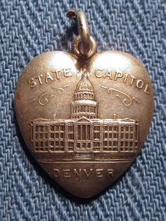 Denver Colorado State Capitol Antique Sterling Heart Charm C 1900 | eBay