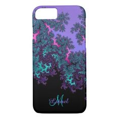 Lavender Teal Fractal Personalized #iPhone 7 Case