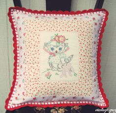vintage grey: new items are here! Sweet vintage kitty pillow cover