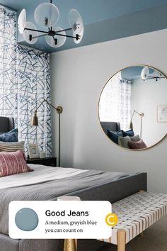 A medium, grayish blue paint color you can count on, just like your favorite pair of broken-in denim. #paintcolors #color #Bluepaint Home Decor Inspiration, Color Inspiration, Best Blue Paint Colors, Bedroom Paint Colors, Count, Bedroom Decor, Decorating Ideas, Palette, Interior Design