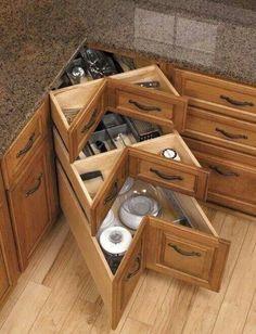 Nice Kitchen Organization, Kitchen Storage, Kitchen Cabinet Styles, Modern Kitchen Cabinets, Organizing, Corner Drawers, Extra Storage Space, Country Kitchen, Sweet Home