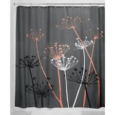 InterDesign Thistle Fabric Shower Curtain, 72x72-Inch, Gray and Coral