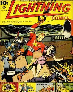 COMIC SUPER HERO COVER LIGHTNING COMICS VINTAGE RETRO POSTER ART PRINT 1254PY