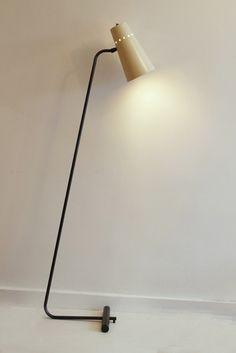 Robert Mathieu; Enameled Metal Floor Lamp, 1958.