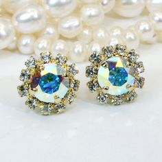 AB Studs Crystal Clear Gold Post Earrings Bridal Ab by TIMATIBO