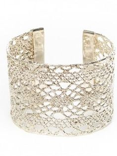 #Valentines Ideas from #British #Jewellery Designers - Featured in #HarpersBazaar Magazine - The Beautiful #Silver Isla Lace #Cuff from the Lost Lace Collection #BeMine #BeMyValentine #Love #Bracelet
