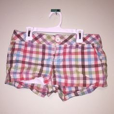 Aeropostale Plaid Shorts Red, purple, blue, green and white plaid shorts. Never worn. White hardware. Aeropostale Shorts