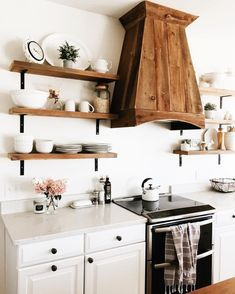 That gorgeous hood fan Farmhouse style kitchen, white cabinets, open shelving