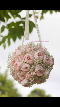 Peonies and baby's breath wedding bouquet :)