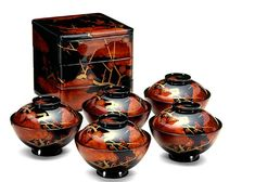 Makie, Japanese lacquer work. I have the sectioned box, but not the bowls