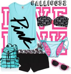 """A day at the beach(PINK contest)"" by callico32 on Polyvore"