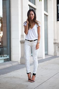 White Snake Skin Jeans from 7 For All Mankind
