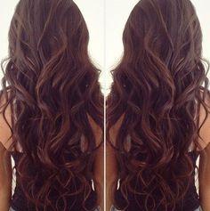 Dark brown with loose curls