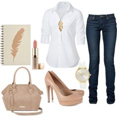 A fashion look from January 2014 featuring shirts & blouses, skinny jeans and high heel pumps. Browse and shop related looks.