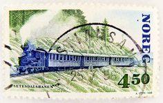 Norge stamp Noreg 60 Öre postage Norway stamps Norwegen Briefmarke train Eisenbahn Railway Zug Lokomotive