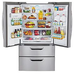 LG Super Capacity 4 Door French Door Refrigerator With Double Freezer  Drawers