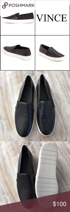 Vince Blair Perforated Slip On Sneaker/Blk/sz 9.5 Hot look! Wear now into Spring! The Blair Perforated Slip On Sneaker features a black calfskin upper, leather lining, rubber soles, with elastic insets for snug fit and easy on/off. This pair is brand new, no box, store closeout. They run large, read reviews before purchasing. This pair is size 9.5, but fits 10-10.5. 🚫no trades, low offers not accepted. Vince Shoes Sneakers