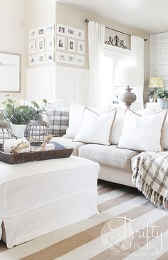Neutral Fall decorating ideas and decor. Neutral and white living room decor. Two story great room decorating idea Cottage Living Rooms, Living Room Decor, Living Spaces, Tuscan Decorating, Decorating On A Budget, Fall Decorating, Living Room Update, Living Furniture, Cheap Furniture