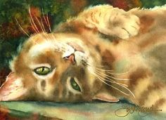 Watercolor of a tabby cat, Susan Crouch