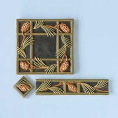 tiles Dark Cabinets Design Your Own Art Tile Craftsman Style Bathrooms, Craftsman Tile, Art Nouveau Tiles, Clay Tiles, Handmade Tiles, Art Deco Design, Tile Design, Arts And Crafts Movement, Patterns